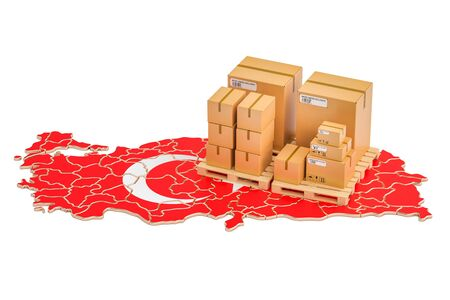 Shipping and Delivery from Turkey isolated on white background Stock Photo