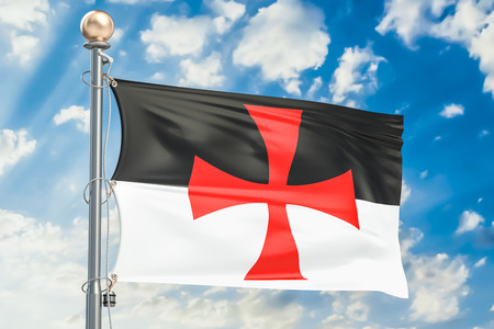 Templar knight flag waving in blue cloudy sky, 3D rendering Stock Photo