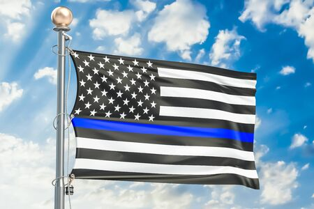 Thin Blue Line. Black Flag of US with Police Blue Line, 3D rendering