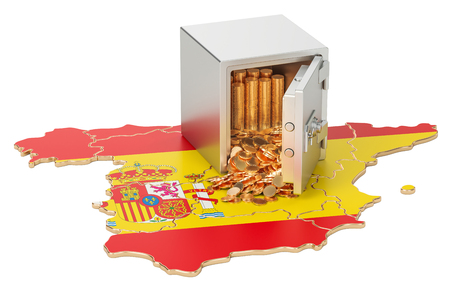 Safe box with golden coins on the map of Spain, 3D rendering Stock Photo
