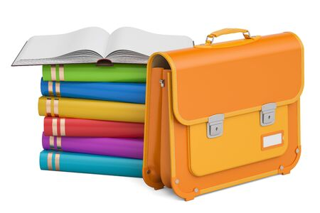 School bag, briefcase with books. 3D rendering isolated on white background Imagens - 83920502