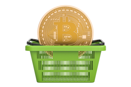 electronic commerce: Shopping basket with bitcoin, 3D rendering isolated on white background