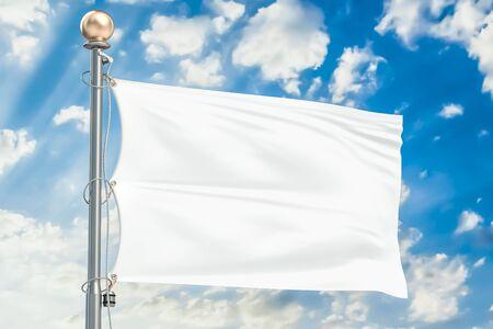 Witte vlag die in blauwe bewolkte hemel, het 3D teruggeven golven