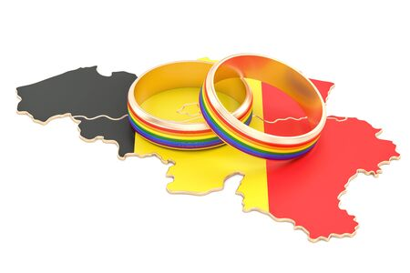 Belgian map with LGBT rainbow rings, 3D rendering Stock Photo
