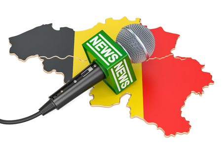Belgian News concept, microphone news on the map of Belgium. 3D rendering