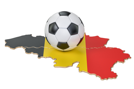 Football ball with map of Belgium concept, 3D rendering
