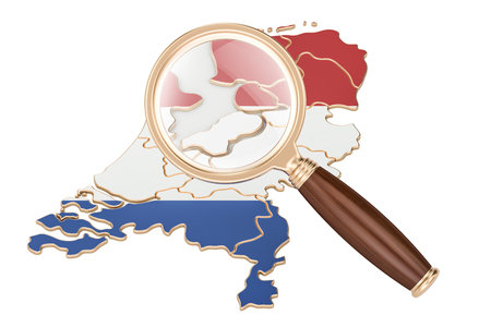 map of netherlands: Netherlands under magnifying glass, analysis concept, 3D rendering isolated on white background
