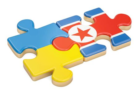 North Korea and Ukraine puzzles from flags, 3D rendering isolated on white background