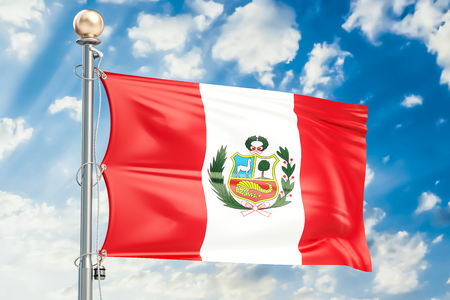 Peru flag waving in blue cloudy sky, 3D rendering