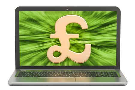 Pound sterling symbol on the screen of laptop, make money concept. 3D rendering