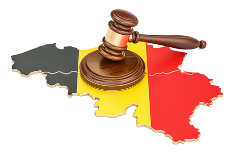 Wooden Gavel on map of Belgium, 3D rendering isolated on white background