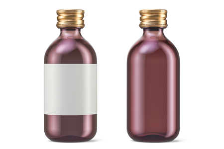 Pharmaceutical bottles with label and empty, 3D rendering isolated on white background