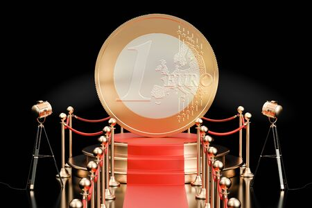 prestige: Podium with Euro coin, 3D rendering