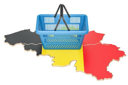 Shopping basket on Belgium map, market basket or purchasing power. 3D rendering