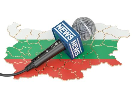breaking: Bulgarian News concept, microphone news on the map of Bulgaria. 3D rendering Stock Photo