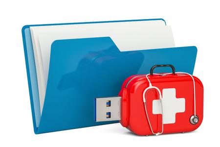 コンピューター フォルダー アイコンと USB フラッシュ ドライブ、サービスと回復、最初の援助の概念。3 D レンダリング