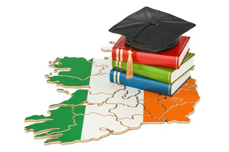 아일랜드 개념, 흰색 배경에 고립 된 3D 렌더링 교육 스톡 콘텐츠