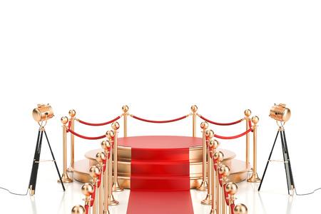 レッド カーペットと障壁ロープ、3 D の分離の白い背景を描画と黄金表彰台空