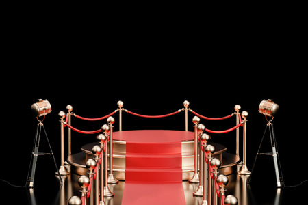 prestige: Empty podium with red carpet and barrier rope, 3D rendering isolated on black background