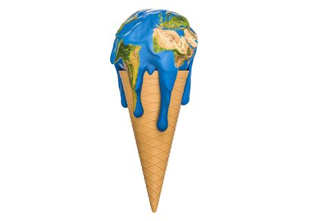 Concept de réchauffement de la planète et de changement climatique, la terre de crème glacée fond. Rendu 3D