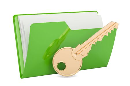 Green computer folder icon with key, 3D rendering isolated on white background