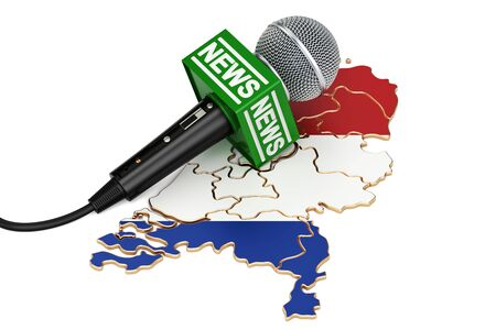 Netherlands News concept, microphone news on the map. 3D rendering Stock Photo