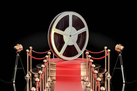 Podium with film reel, presentation concept. 3D rendering isolated on black background
