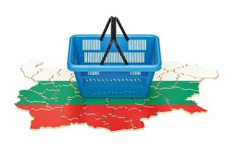 Shopping basket on Bulgarian map, market basket or purchasing power in Bulgaria concept. 3D rendering