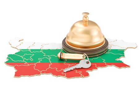 Bulgaria booking concept. Bulgarian flag with hotel key and reception bell, 3D rendering