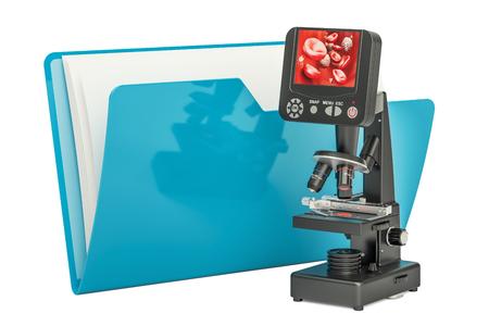 Computerordnerikone mit Mikroskop, Wiedergabe 3D lokalisiert auf weißem Hintergrund