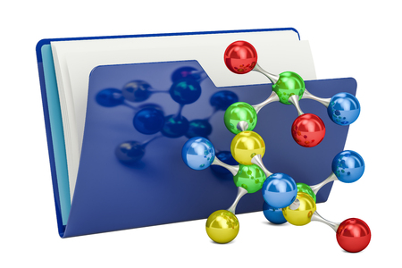 web directories: Computer folder icon with molecular model, 3D rendering isolated on white background Stock Photo