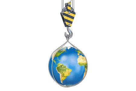 Crane hook with Earth globe, 3D rendering isolated on white background Stock Photo