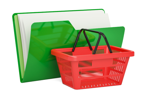 Green computer folder icon with shopping basket, 3D rendering isolated on white background