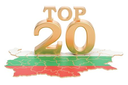 Bulgarian Top 20 concept, 3D rendering isolated on white background