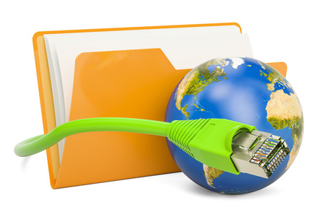 lan: Computer folder icon with lan internet cable, 3D rendering isolated on white background Stock Photo