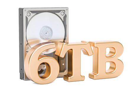 hard disk: Hard Disk Drive (HDD), 6 TB. 3D rendering isolated on white background