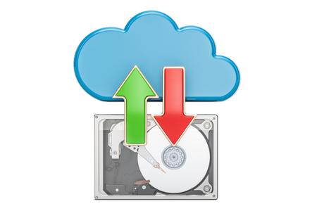 disco duro: Concepto de sincronización de la nube, representación 3D aisladas sobre fondo blanco Foto de archivo