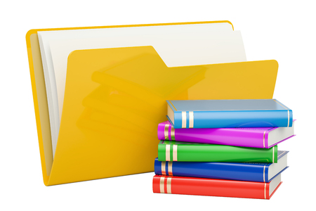 Computer folder icon with books, 3D rendering isolated on white background