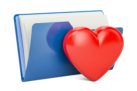 Computer folder icon with red heart, 3D rendering  isolated on  white background
