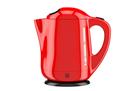 Modern red electric kettle, 3D rendering isolated on white background Stock Photo