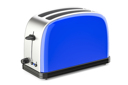 Blue toaster, 3D rendering isolated on white background Stock Photo
