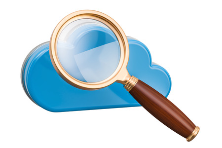 Computer cloud with magnifier. Search in cloud computing, 3D rendering isolated on white background Stock Photo