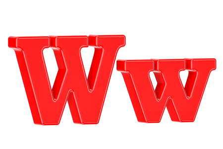 English red letter W, 3D rendering isolated on white background Stock Photo