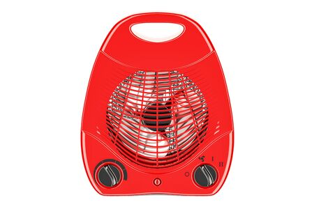 red fan heater closeup, 3D rendering isolated on white background