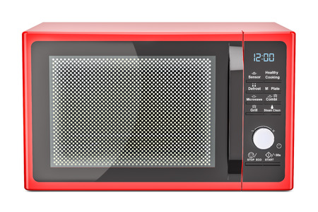 red microwave oven, 3D rendering isolated on white background Stock Photo