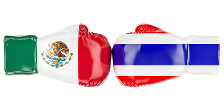Boxing gloves with Mexican and Thailand flags. 3D rendering