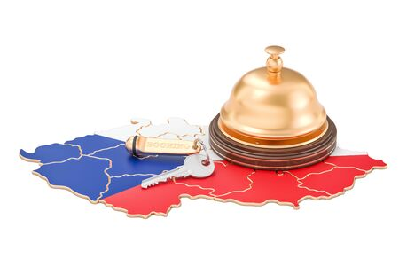 Czech Republic booking concept. Flag with hotel key and reception bell, 3D rendering Stock Photo