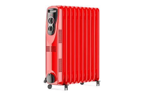 Red electric oil heater, oil-filled radiator. 3D rendering isolated on white background Stock Photo