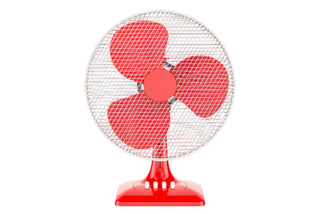 Red Table Fan, 3D rendering isolated on white background Stock Photo