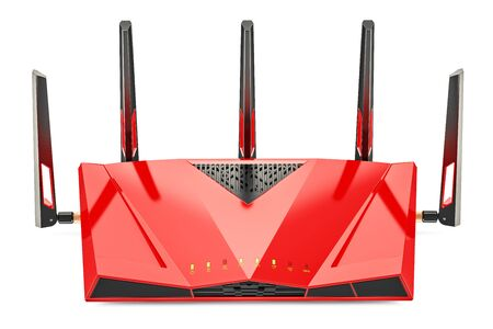 Red wireless internet router, 3D rendering isolated on white background